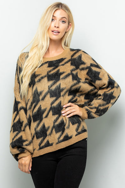 Houndstooth Print Sweater Top - Mocha/Black