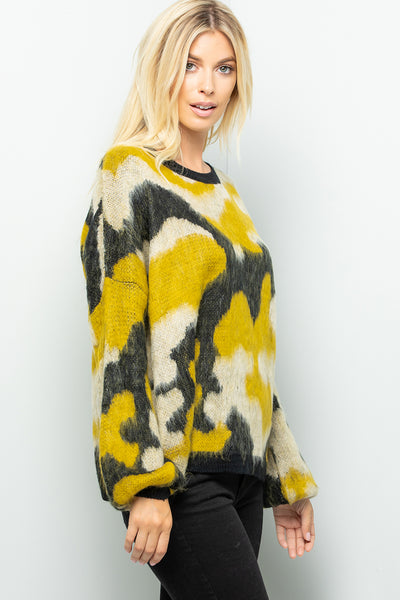 Camouflage Print Sweater Top - Mustard/Black