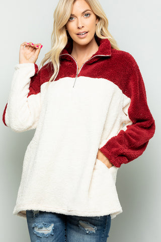 Zipper Faux Fur Over Size Top - Burgundy/Ivory