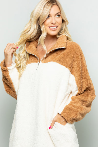 Zipper Faux Fur Over Size Top - Mocha/Ivory
