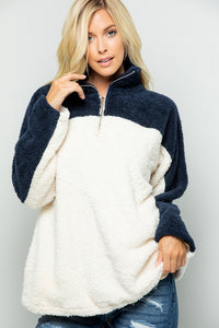 Zipper Faux Fur Over Size Top - Navy/Ivory