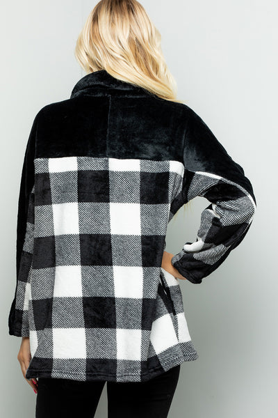 Zipper Faux Fur Plaid Over Size Top - Ivory/Black
