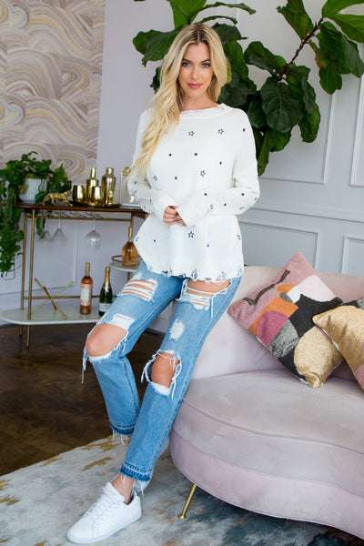 Star Embroidered Spring Sweater - Ivory
