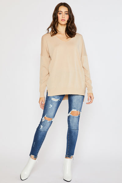 Lightweight Spring Sweater - Taupe