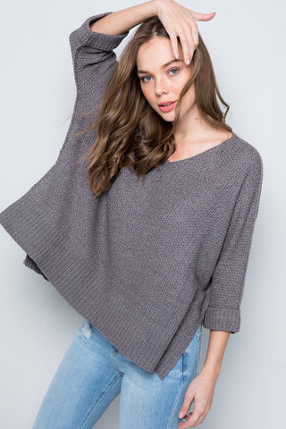 V-neck Side Slit Sweater - Charcoal