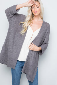 Open Front Side Slit Cardigan - Charcoal (Pre-order)