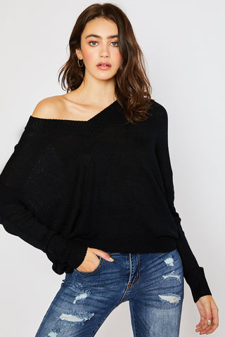 V-neck Drop Shoulder Spring Sweater - Black