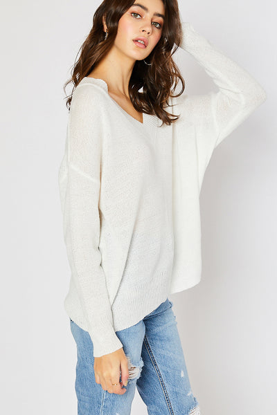 V-neck Drop Shoulder Spring Sweater - Ivory