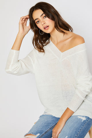 V-neck Drop Shoulder Spring Sweater - Ivory (Pre-order)