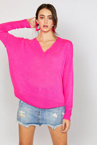 V-neck Drop Shoulder Spring Sweater - Neon Pink (Pre-order)