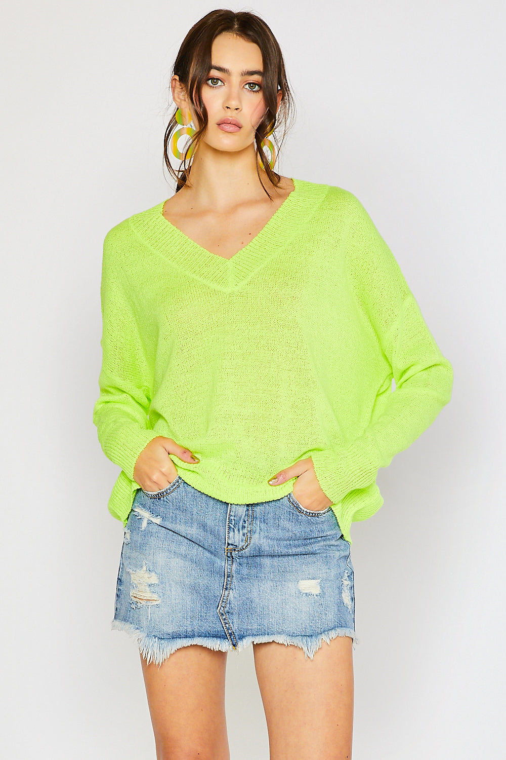 V-neck Drop Shoulder Spring Sweater - Neon Yellow (Pre-order)
