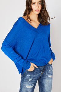 V-neck Drop Shoulder Spring Sweater - Royal Blue (Pre-order)