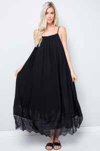 Lace Hem Mid Dress - Black