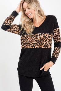 Leopard Print Contrast Top - Black/Brown