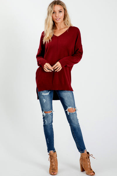 Cozy Knit Sweater Tunic Top - Burgundy