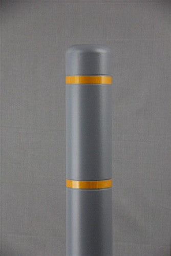 "Bollardgard 4"" x 52"" Grey Bollard Cover with Yellow Reflective Tape"