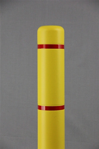 "Bollardgard 4"" x 52"" Yellow Bollard Cover with Red Reflective Tape"