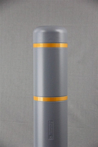 "Bollardgard 7"" x 52"" Grey Bollard Cover with Yellow Reflective Tape"