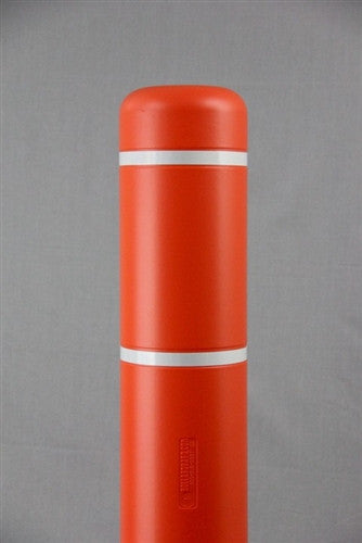 "Bollardgard 7"" x 52"" Orange Bollard Cover with White Reflective Tape"