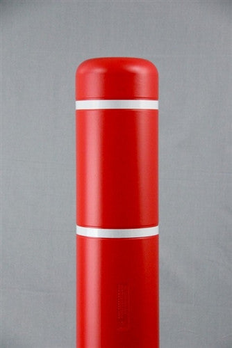 "Bollardgard 7"" x 52"" Red Bollard Cover with White Reflective Tape"