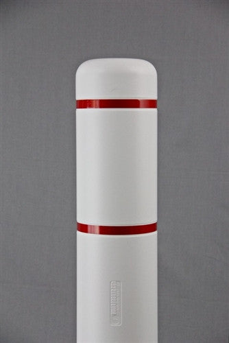"Bollardgard 7"" x 52"" White Bollard Cover with Red Reflective Tape"