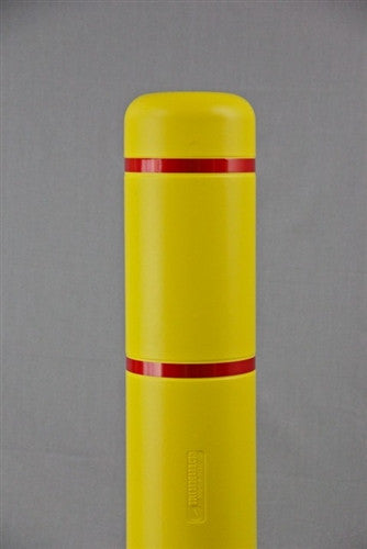 "Bollardgard 7"" x 52"" Yellow Bollard Cover with Red Reflective Tape"