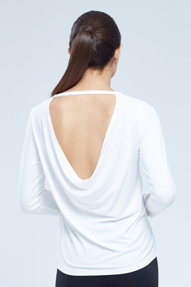 Taylor Mix Media L/S Top With Back Scoop Neck