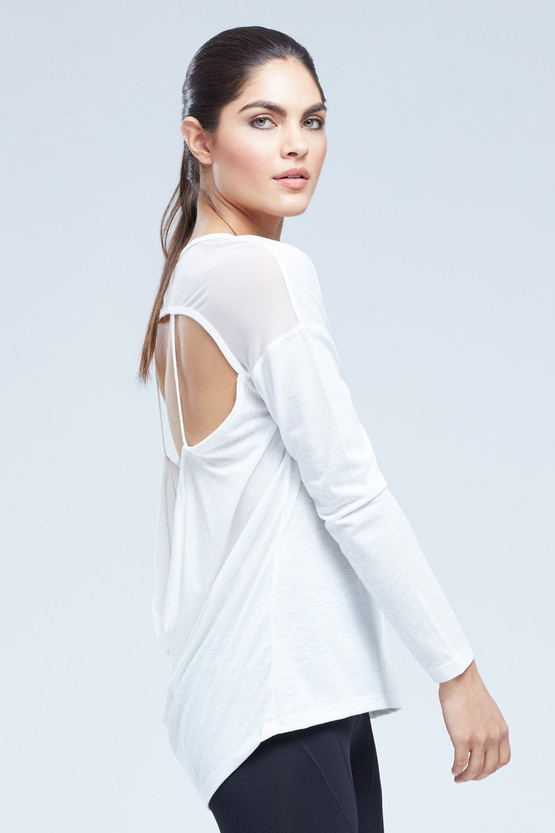 Keagan Mix Media Long Sleeve Back Drape Top
