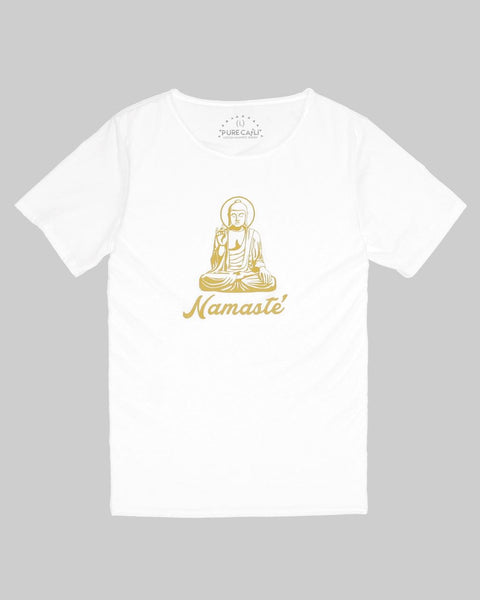 Namaste White Rough Neck Buddha Tee