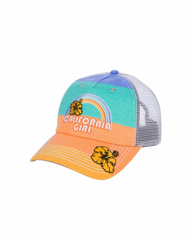 California Girl Trucker Hat - Rainbow Stripe