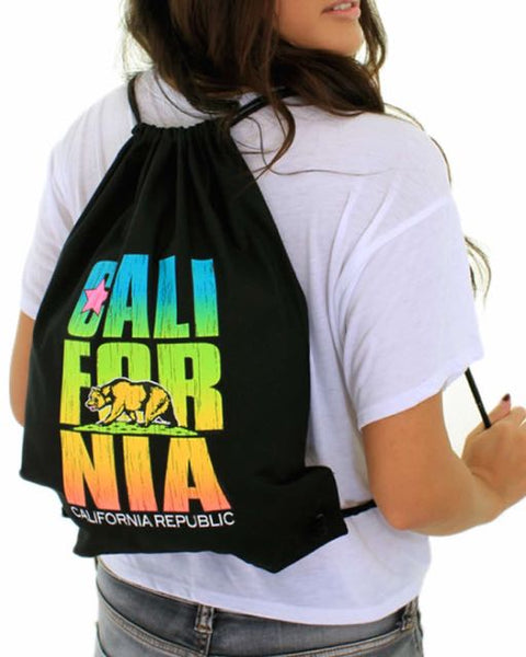 Neon Cotton Canvas Drawstring Backpack