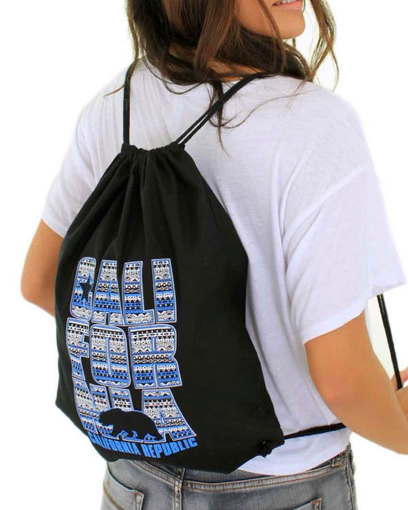 Aztec Cotton Canvas Drawstring Backpack