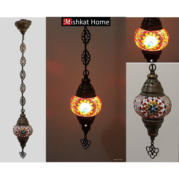 Hanging star mosaic lamp (various colours)