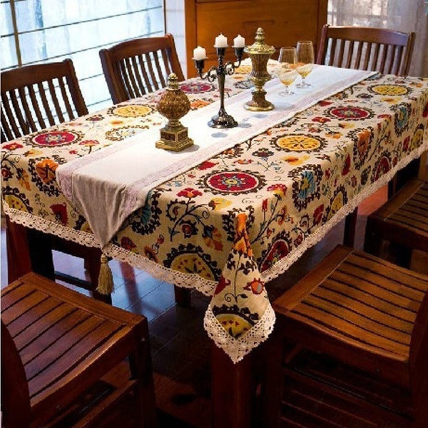 Ethnic style quality cotton & linen lacework dining tablecloth