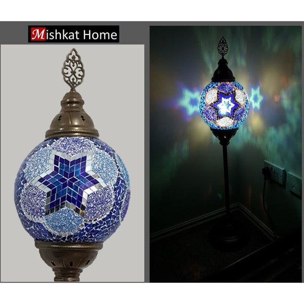 Mosaic corner lamp stand - available in blue and brown