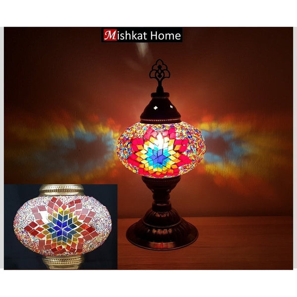 Star mosaics design wide table lamps - Two colours mixed and red