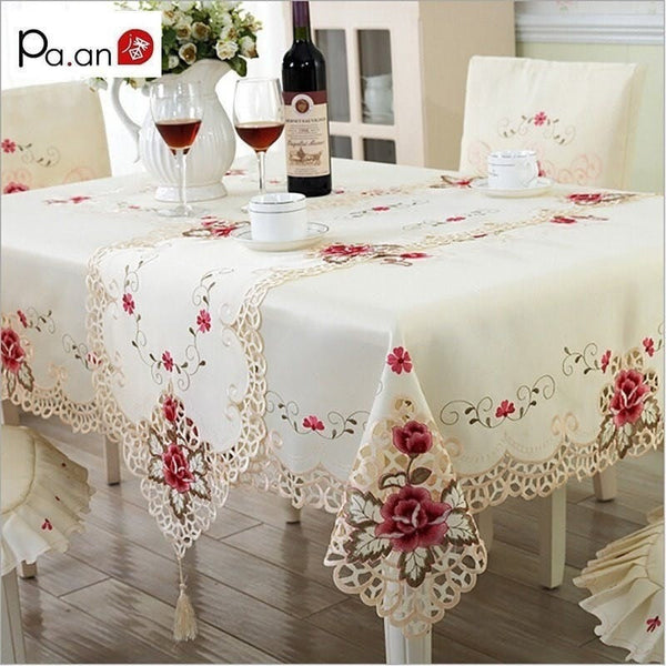Tablecloth Embroidered Floral Hollow Table Cover Rectangular