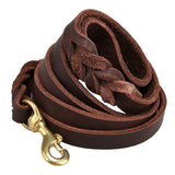 6 FT - BRAIDED LEATHER DOG LEAD - MILITARY GRADE