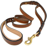 Braided Leather K9 Leash with Traffic Handle