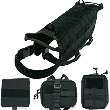 Tactical Military Molle Patrol Harness - With Detachable Pouches - SWAT BLACK