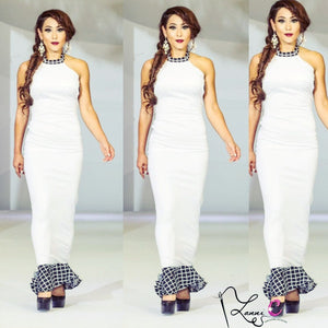 White Halter Dress - LanniC Fashion