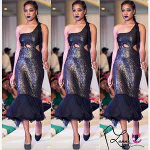 Dark Golden Runway Dress - LanniC Fashion