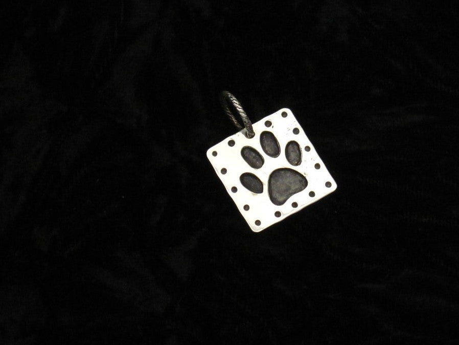 Sterling Paw Square Pendant
