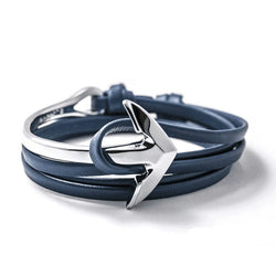 Silver Anchor | Navy Leather Bracelet - Mr.Adams