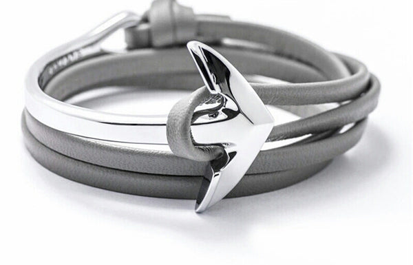Silver Anchor | Grey Leather Bracelet - Mr.Adams