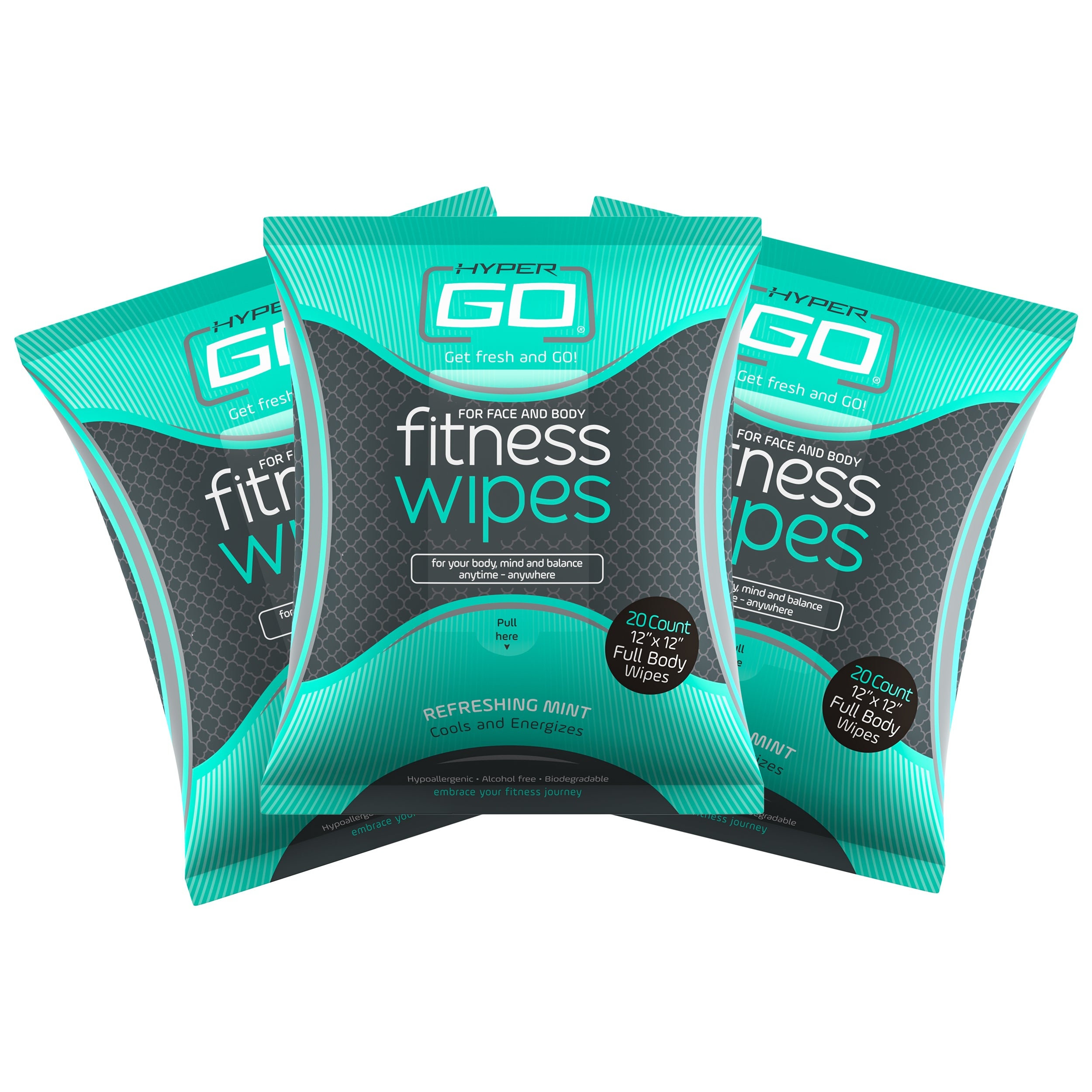 HyperGo: Full Body Fitness Wipes, All Natural Body Cleansing Wipes, Clean Off Odor and Sweat, (Mint Scent) - Pack of 3