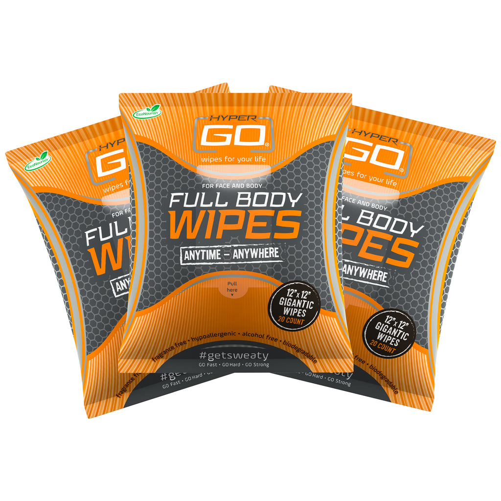 HyperGo: Full Body Wipes, All Natural Body Cleansing Wipes, Clean Off Odor and Sweat, (Unscented) - Pack of 3