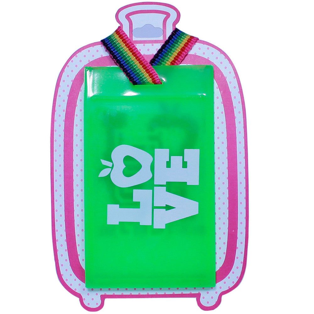 Luggage Tags Pink green and white