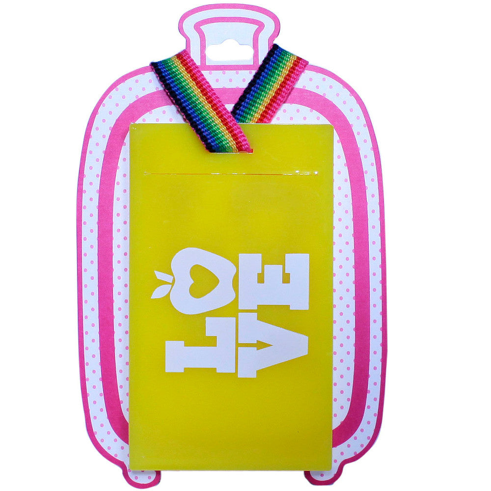 Luggage Tags Yellow pink and white