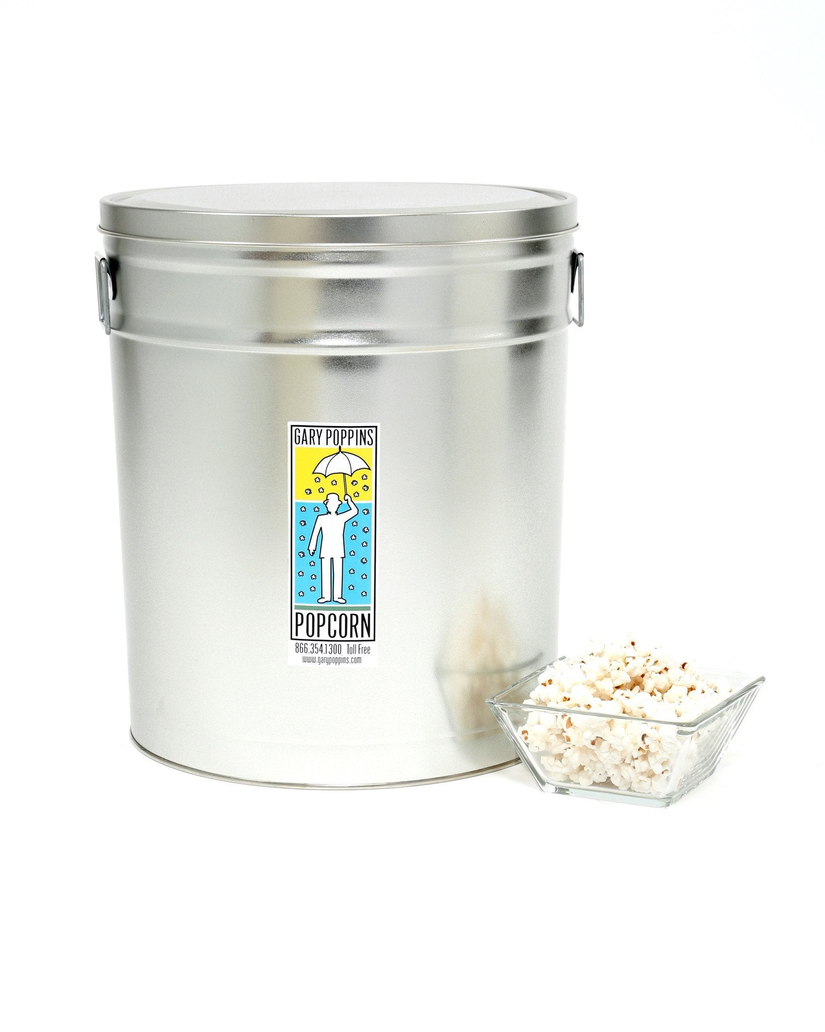 LITE Extra Virgin Olive Oil with Pink Himalayan Salt - Gourmet Popcorn - 6.5 Gallon Tin